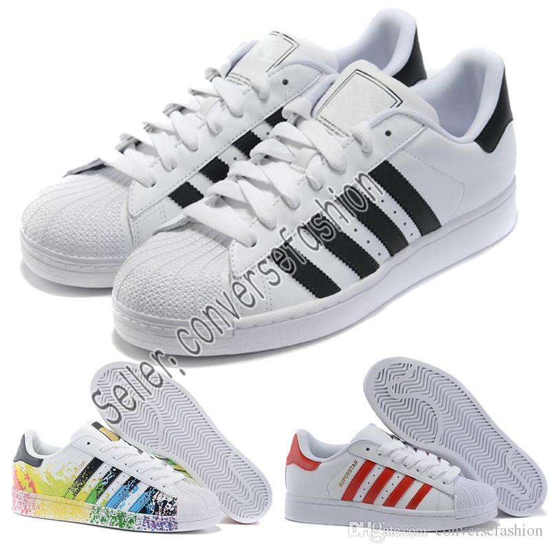 Adidas 2019 Hommes Occasionnels chaussures Superstar Blanc Hologramme Iridescent Junior Superstars 80 s Pride Sneakers Super Star Femme Chaussures