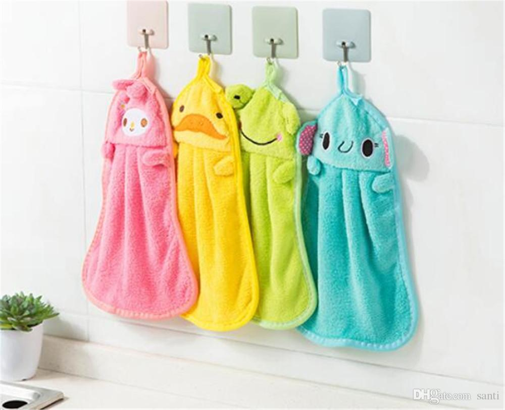 Hot Housekeeping Organization Candy Colors Soft Coral Velvet Cartoon Animal Towel Can Be Hung Kitchen Cleaning Use