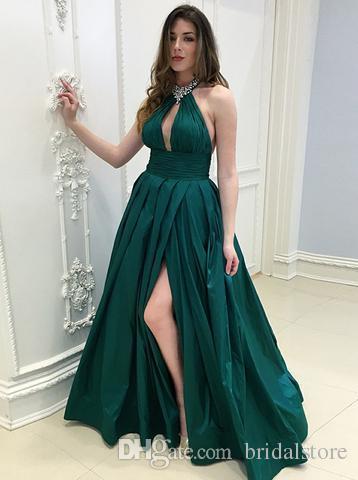 64976375dcb02b Roupas Para Festa Elegante Halter Verde Esmeralda Prom Vestidos Com Fendas  Uma Linha Keyhole Frente Plissada Longo Vestido De Noite Plus Size Vestido  ...