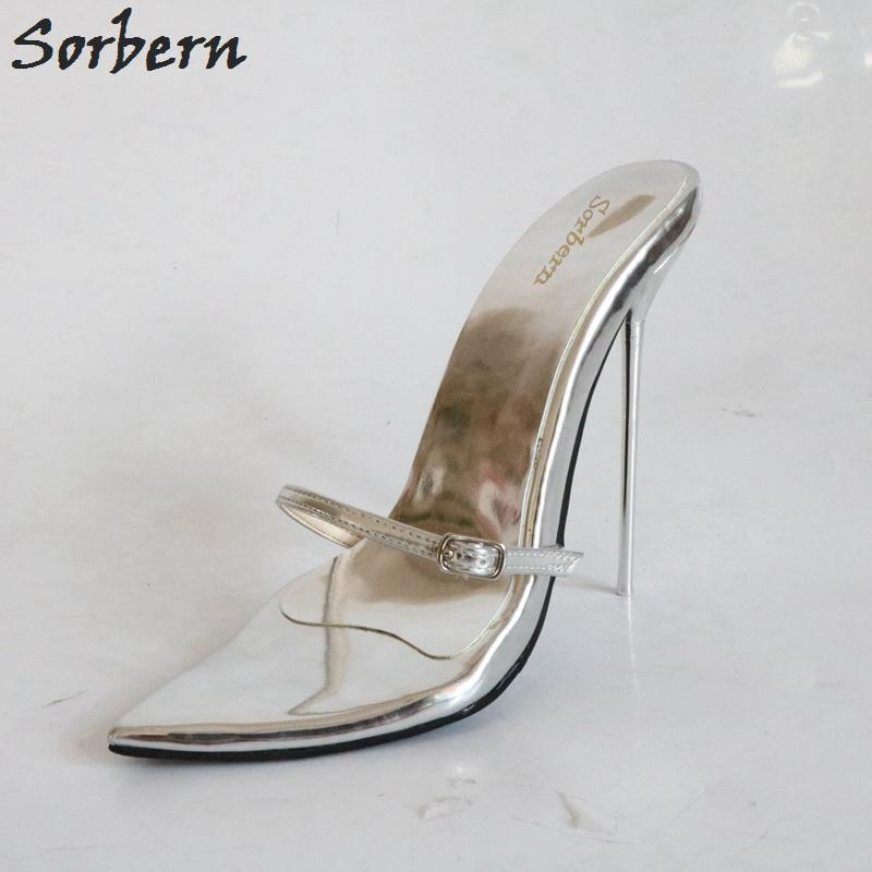 07c09f356f8 Wholesale Silver Slip On Women 14Cm Stilettos High Heels Slides Ladies  Ladies Open Toe Buckles Sliders Shoes Mules 33 52 Boys Sandals Dansko  Sandals From ...