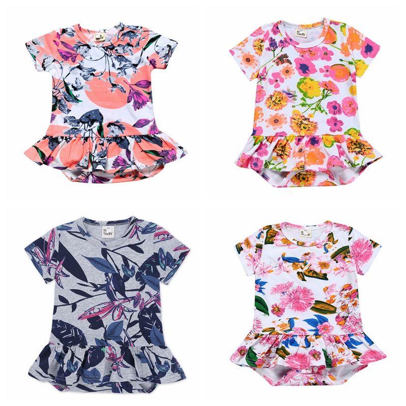 72ab973d718f 2019 Baby Girls Rompers Floral Girl Dress Romper Flower Princess ...