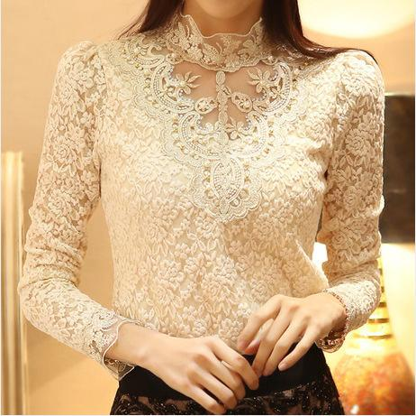 New Women Sexy Embroidery Lace Blouse Feminine Stand Neck Long Sleeve Shirt Plus Size 3xl Blouse Tops MX190712
