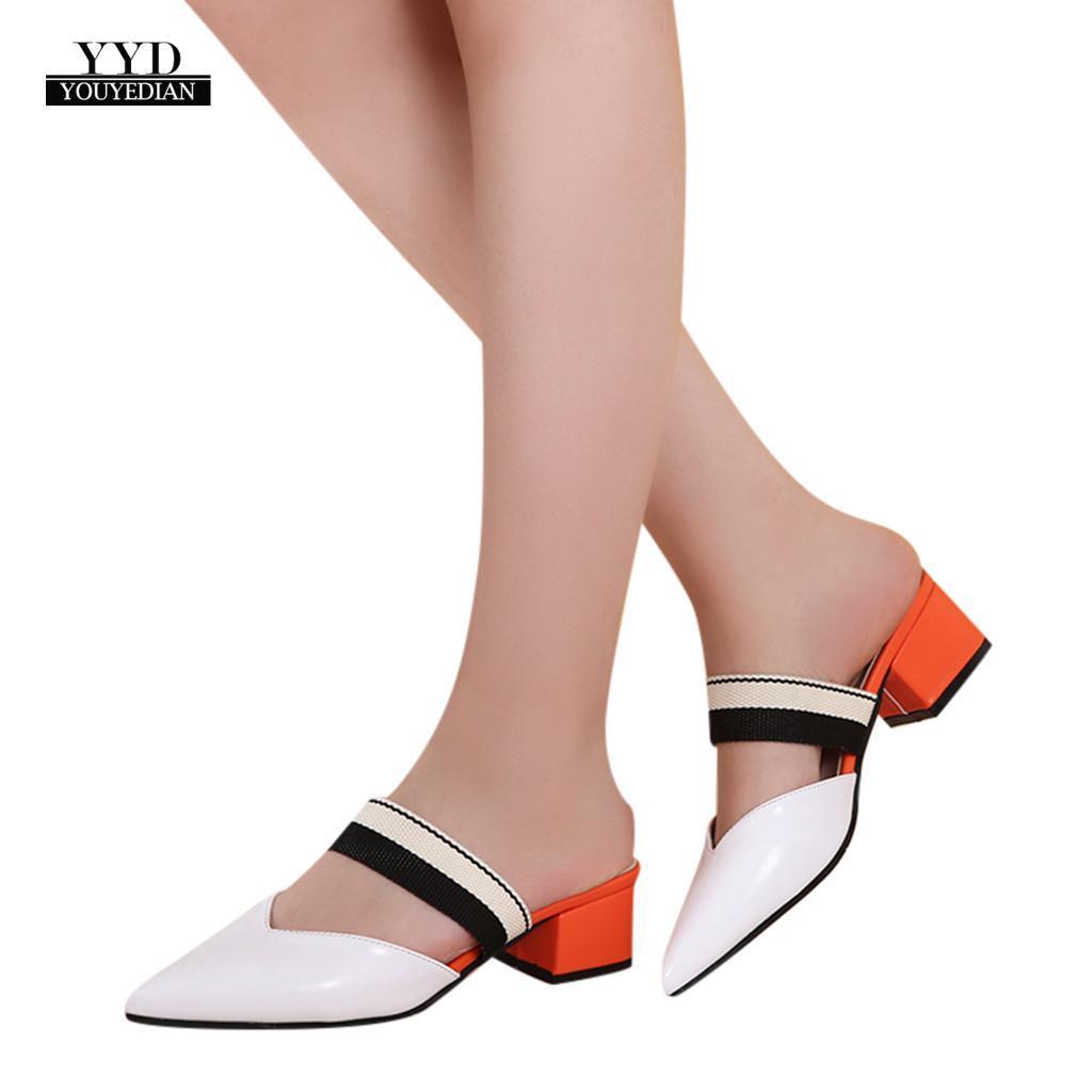 82edab60a Compre YOUYEDIAN Mulheres Chinelos Planas Mulheres Sapatos Casuais Slip On  Slides Pérola Fivela Mulas Quadrado Toe Sapatos De Salto Baixo Cunhas  Sandálias ...