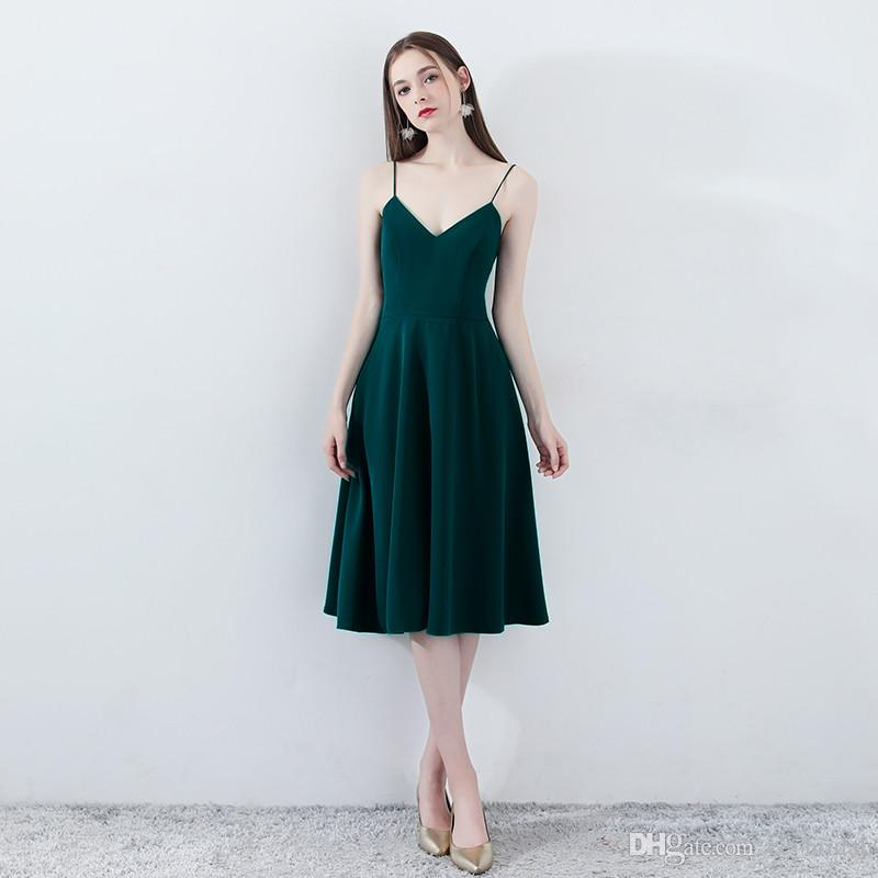 a98d7e85af Cheap Country Bridesmaid Dresses 2019 Dark Green A Line Wedding Guest Sexy  Short Knee Length Satin Maid Honor Gowns Cheap Under 100 Fuschia Bridesmaid  ...