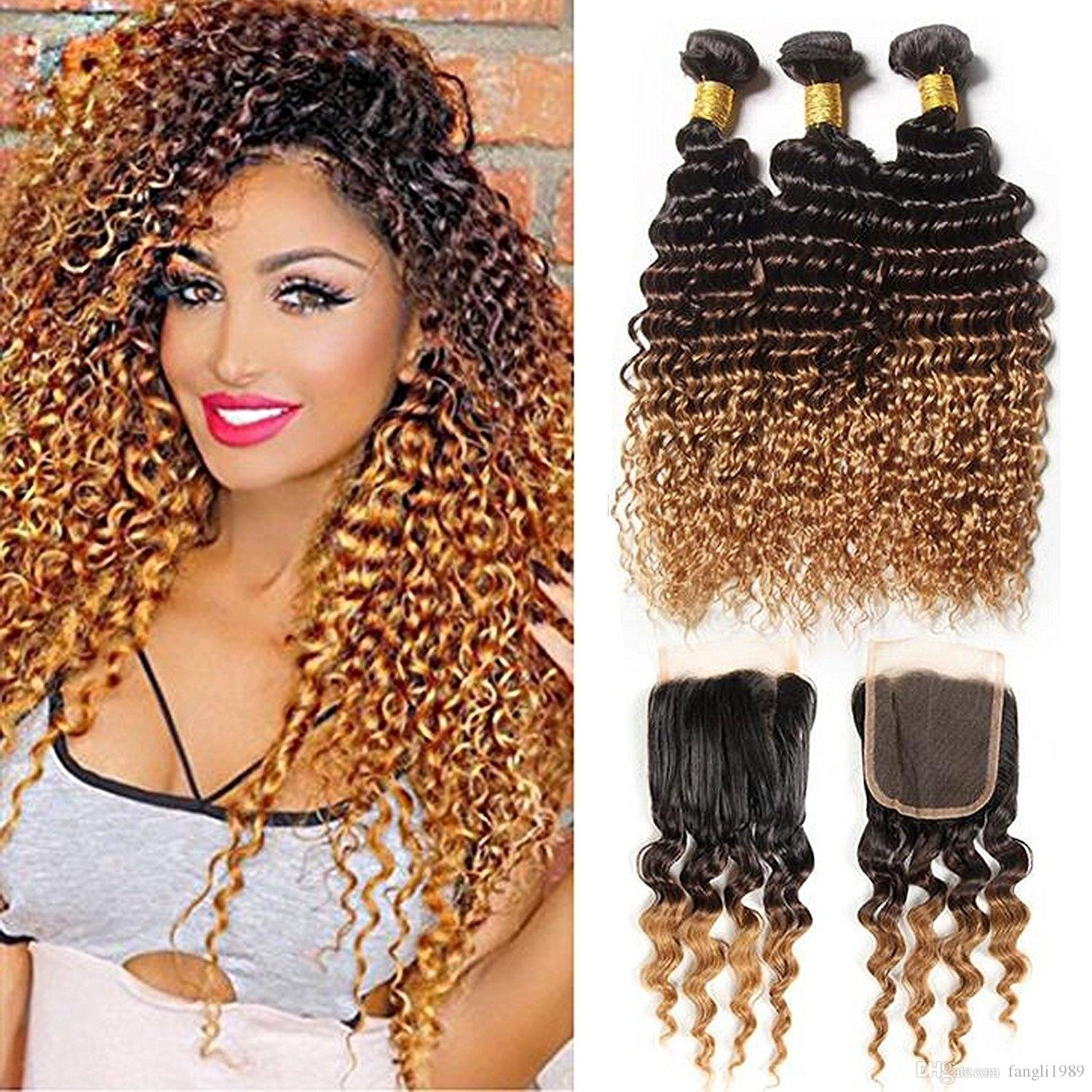 Peruvian Kinky Curly Virgin Hair With Closure Ombre 3 Bundles Human Hair Weave With Lace Closure (20 closure with22 24 26, 1B/4/27)