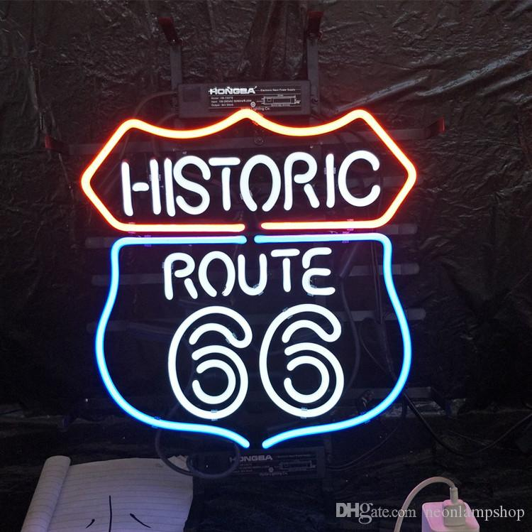b7545e27a66d Custom HISTORIC ROUTE Neon Sign Real Glass Tube Advertising Bar Home  Decoration Art Gift Display Neon Light Metal Frame 17'' 24'' 30''40''