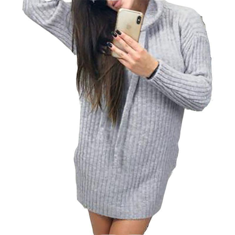 c5c7f9b75af8 Acquista Moda 2019 Autunno Donne Abito Inverno Sexy Con Cappuccio In Maglia  Abiti Slim Mini Abito Sexy Solido Bodycon Vestito Casual Femminile M0167 A  ...