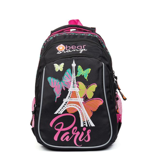 New Fashion Cartoon Butterfly School Bags for Girls Primary School Orthopedic Satchel Children's Backpack Grade 1-4 Black Rose