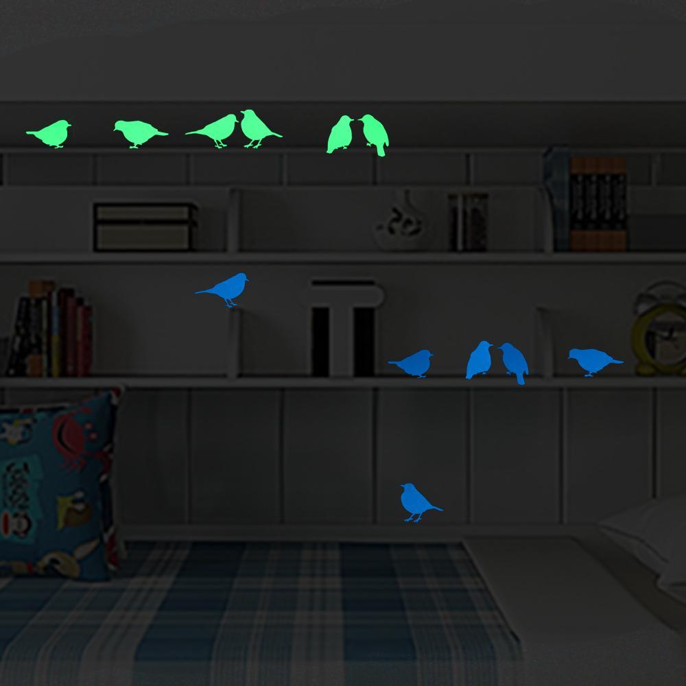 6 Birds Luminous Switch Sticker Cartoon Wall Sticker Glow in the Dark Decor Decals for Bedroom Bed Furniture Wardrobe Laptop DIY
