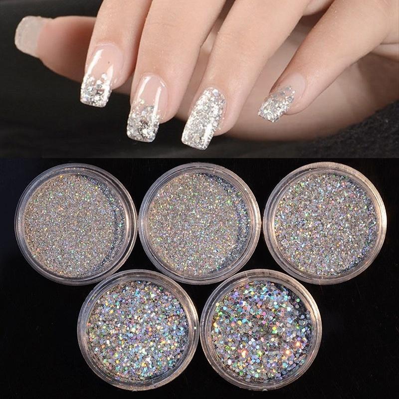 1 Box Holographic Nail Glitter Powder Shinny Sliver Pigment Dust ...