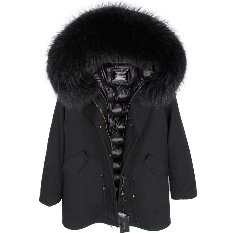 2019 Winter Coats Women Jackets Long Real Large Raccoon Fur Collar Thick Ladies Down & Parkas army green black camouflage Y190906