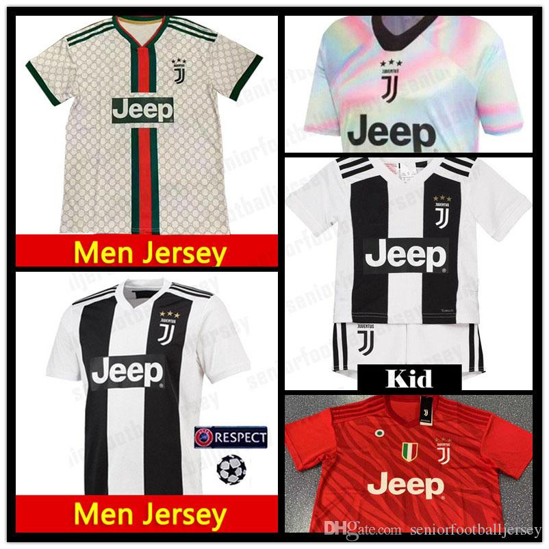 newest 97941 d6f24 7 RONALDO Jersey juventus 10 DYBALA 9 HIGUAIN MARCHISIO champions league  white 19 20 New Men kid kits Home Away Soccer Jerseys