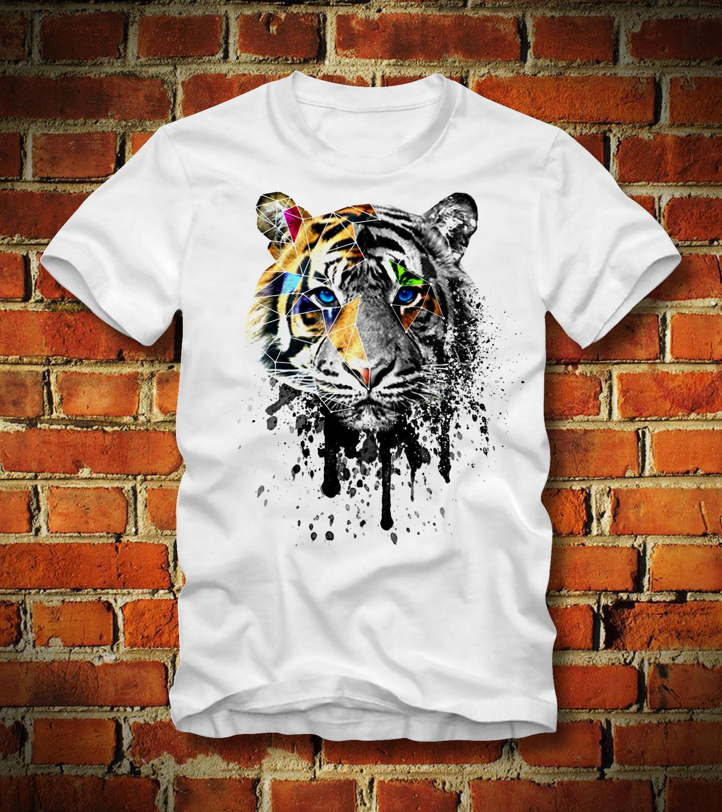 2019 New Summer Tee Shirt Funny T Shirt Tiger Geometric Psychedelic Psychedelisch Wholesale Discount Dmt Art Custom T Shirt