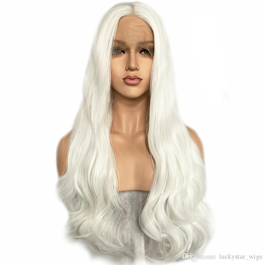 Natural Hairline White Wig Synthetic Wig For Women Glueless Synthetic Lace  Front Wigs Long Wavy Cosplay Wigs 26inch 180% Heat Resistant Lacewigs  Glueless ... 54c7a545e3