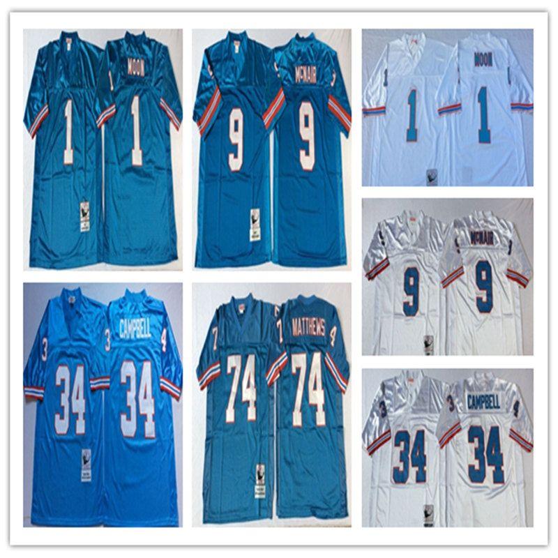 quality design 91b8b 0fa87 NCAA Men Jersey #1 Warren Moon Houston #34 Earl Campbell #74 Bruce Matthews  #9 Steve McNair Stitching football Jerseys Wholesale