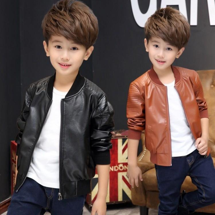 67dc06280 2018 New Baby Boy Faux Leather Jacket Boys Coat Black And Brown ...