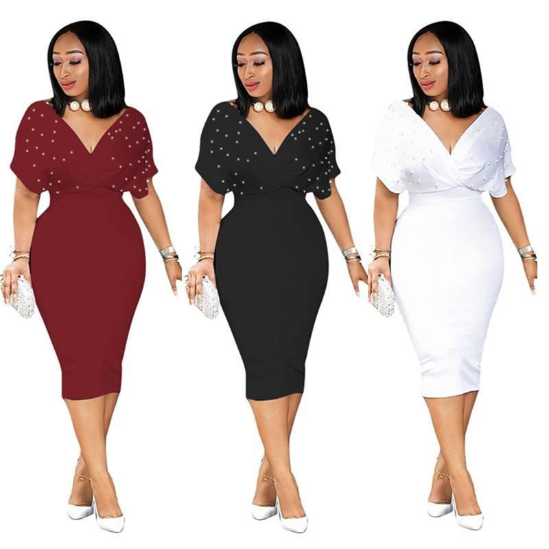 Short Sleeve Plus Size Dress Women Deep V Neck Beading Embellished Club  Party Dress Elegant High Waist Midi Dress NZK-1682