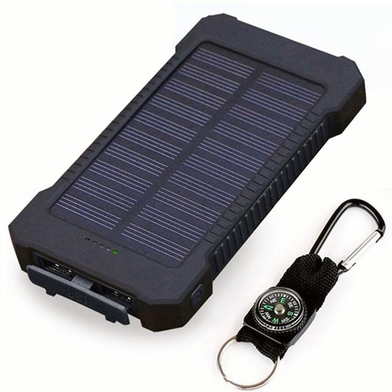 bb88758b07c Compre Banco De Energia Solar À Prova D 'Água 30000 MAh Carregador Solar 2  Portas USB Powerbank Carregador Externo Para Xiaomi Smartphone Com Luz LED  De ...