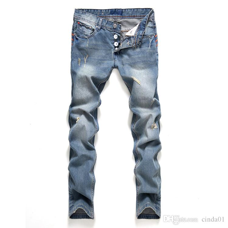 2019 Slim Fit Spring New Jeans Button Straight Style Male Fashionable Ripped Pants Mens Clothing Apparel