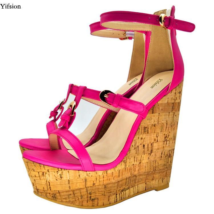 c72c7868951a Acheter Yifsion Nouvelles Femmes Plateforme Sandales Compensées Talons Hauts  Sandales Belle Bout Ouvert Rose Rouge Noir Rouge Chaussures De Fête Plus US  ...