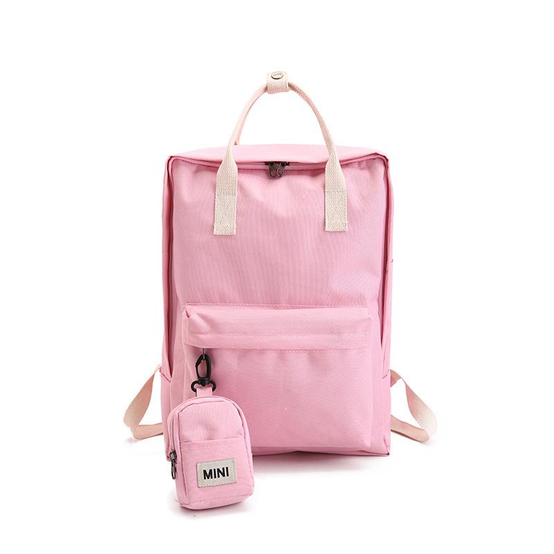 b4c4975fe7cf 2019 Canvas Backpack Set With Cute Mini Small Backpack College High School  Bag For Teenager Girls Candy Color Y254 Backpack Brands Rucksack Backpack  From ...