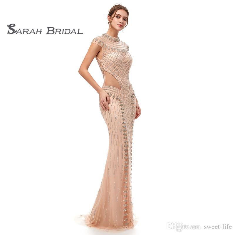 Luxury Crystal Mermaid Blush Tulle Prom Party Dresses 2019 Sexy Champagne Backless Vestidos De Festa Evening Occasion Gown 5401