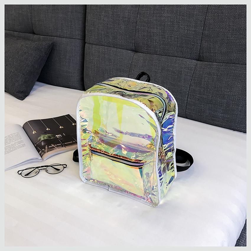 858c1b927810 Laser Reflective Backpack Women Waterproof Jelly Transparent Rucksack  Ladies Large Capacity Knapsack Mini Solid Color Designer LJJS302 Backpacks  For Girls ...