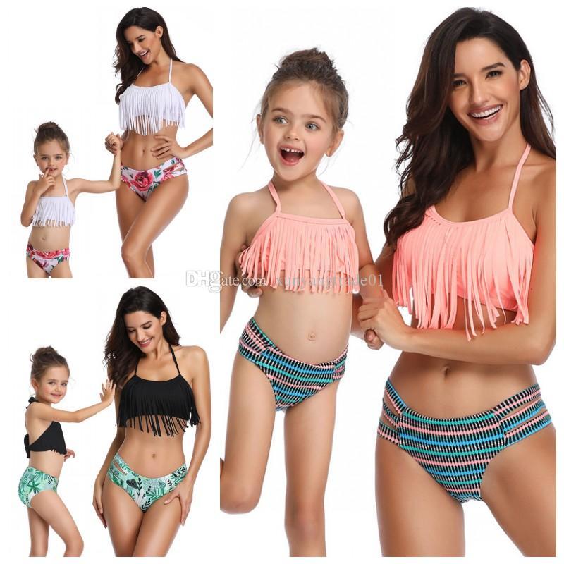 Tops Suspenders Kids Swimsuit Bikinis Tassels Triangle Suit Swimwear Pants 8t 3colors 2pcs Bathing Girls Beach Q215 Backless 2 67bfyg