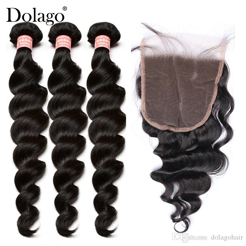 Loose Wave Human Hair Bundles With Closure 5X5 Lace Closure With Natural Hair Weave Bundles Wholesale Brazilian Virgin Hair With Closures Do
