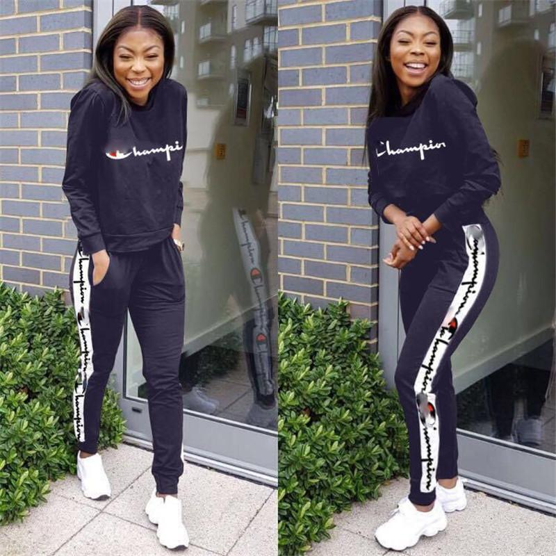 8811e503a795 2019 Women Champions Tracksuit Long Sleeve Pullover T Shirt Hoodie +  Joggers Pants Autumn Outfits Brand Sportswear GYM Sports Casual Sets From  Dhgate_stores ...