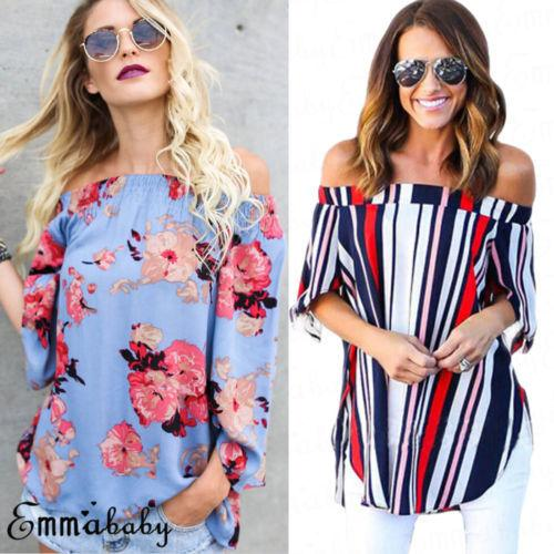 43b3c6ac33 2019 Fashion Women Holiday Off Shoulder Casual Summer Tops Blouse Floral  Striped Plus Size From Your04, $23.28   DHgate.Com