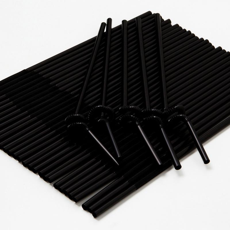 100 Pcs Disposable Plastic Straws black Flexible Wine juice drinking straw Kids Birthday Wedding Supplies Store Free shipping