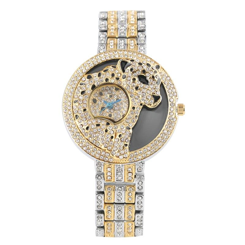 High Quality Alloy Strap Watches for Ladie Unique Leopard Pattern Dial Wristwatch for Women Luxurious Diamond-encrusted Quartz Analog Watch