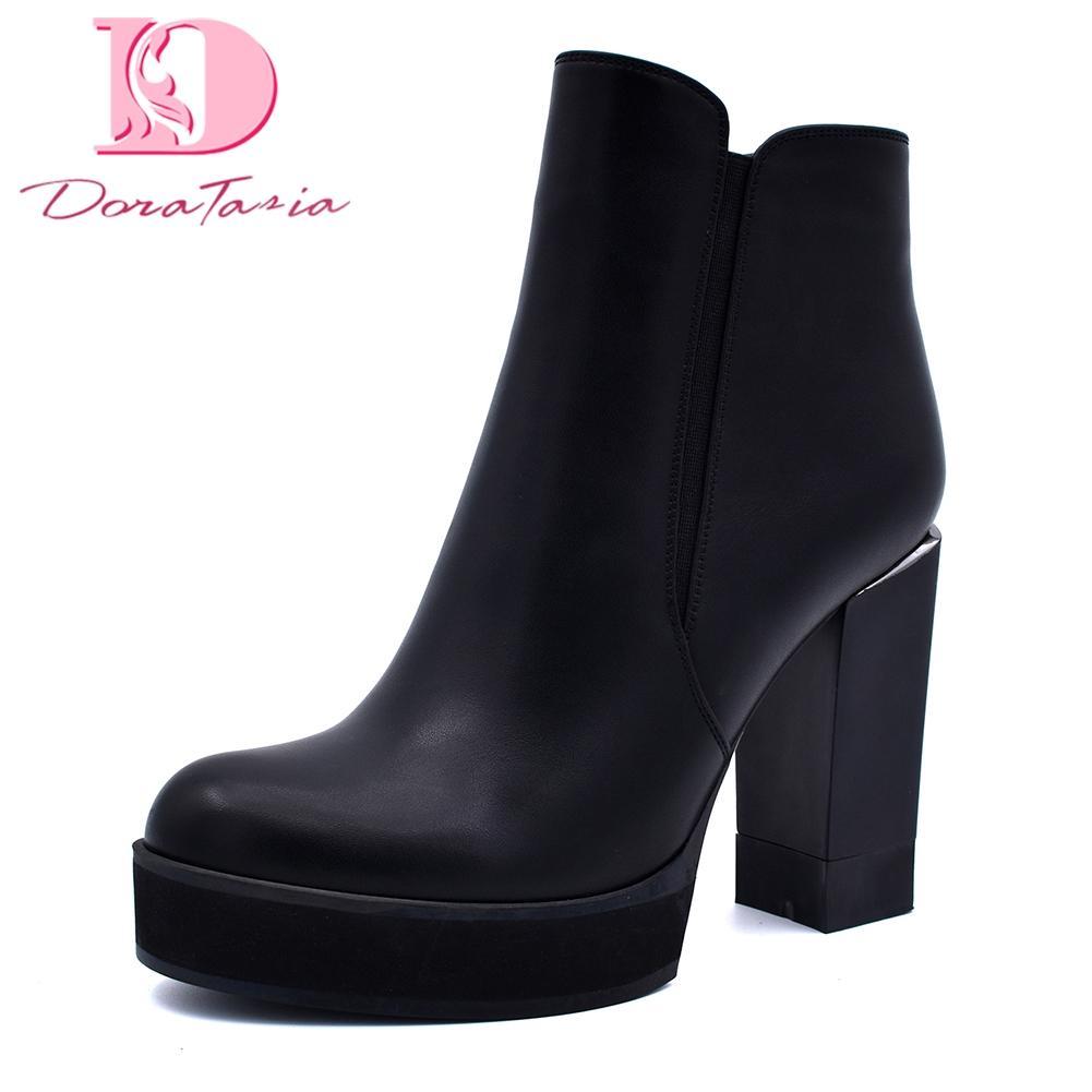 5c391659e4 Compre DoraTasia 2018 Tamanho Grande 34 40 Zip Up Sapatos Botas De Mulher  Quadrado De Salto Alto Venda Quente Sapatos De Plataforma Do Partido Ankle  Boots ...