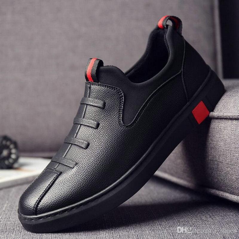 efcf5490 Compre 2019 Nueva Moda Hombre Zapatos De Cuero Negro Zapatos Hombre ...