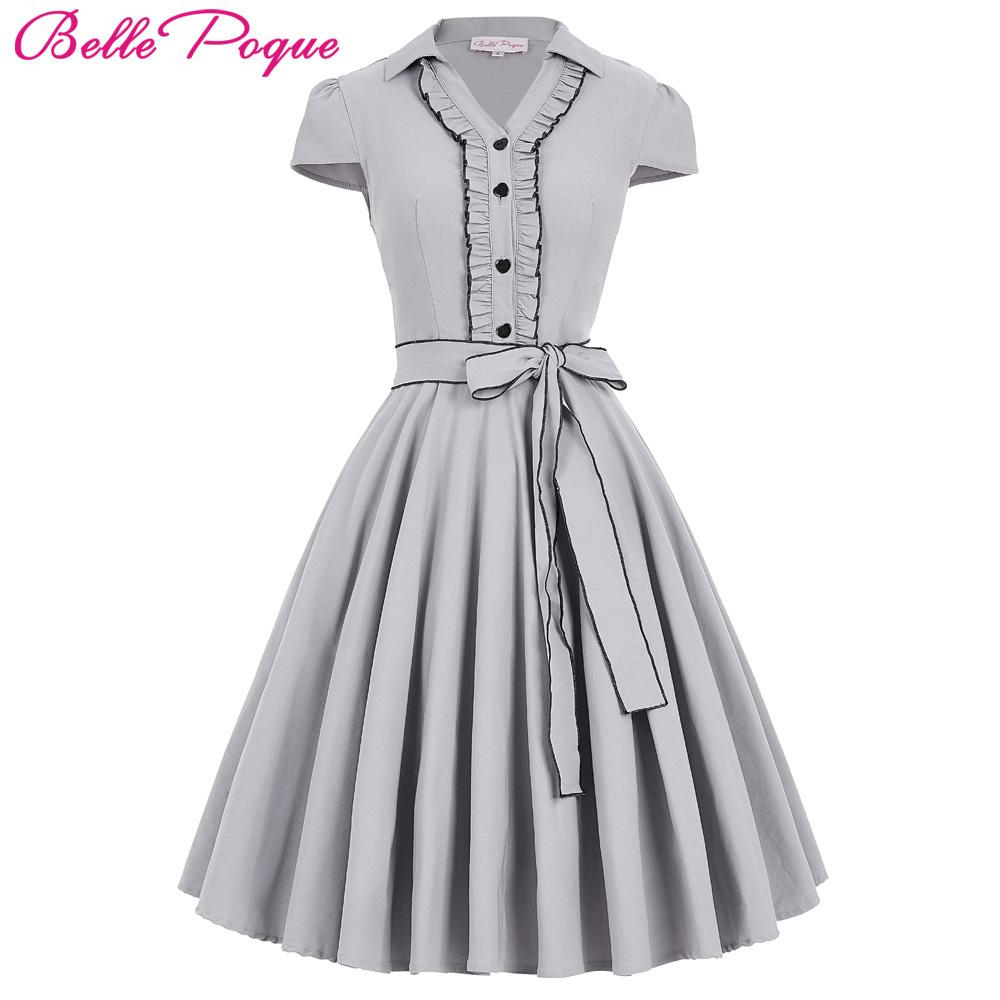 a84a769aba1878 2019 Belle Poque Women Summer Dress 2017 Amber Grey V Neck Swing Elegant  Tunic Office Robe Vintage Dresses 50s 60s Womens Clothing Y190410 From  Zhengrui06, ...
