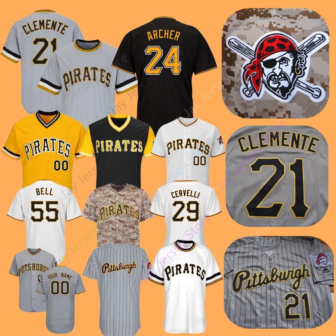 the best attitude 4f014 b5900 Custom Pirates Jersey Gonzalez Cabrera Marte Stargell Kang Clemente Bonds  Archer Pittsburgh Polanco Frazier Cervelli Parker Bell