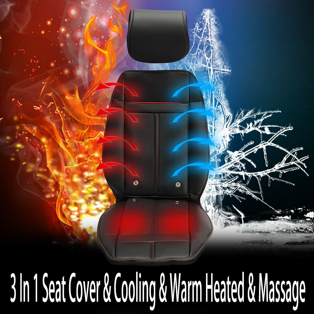 Freeshipping 3 en 1 Auto Car Heated Seat Covers Pad Cojín eléctrico Ventilación w / Cooling Warm Heated Massage