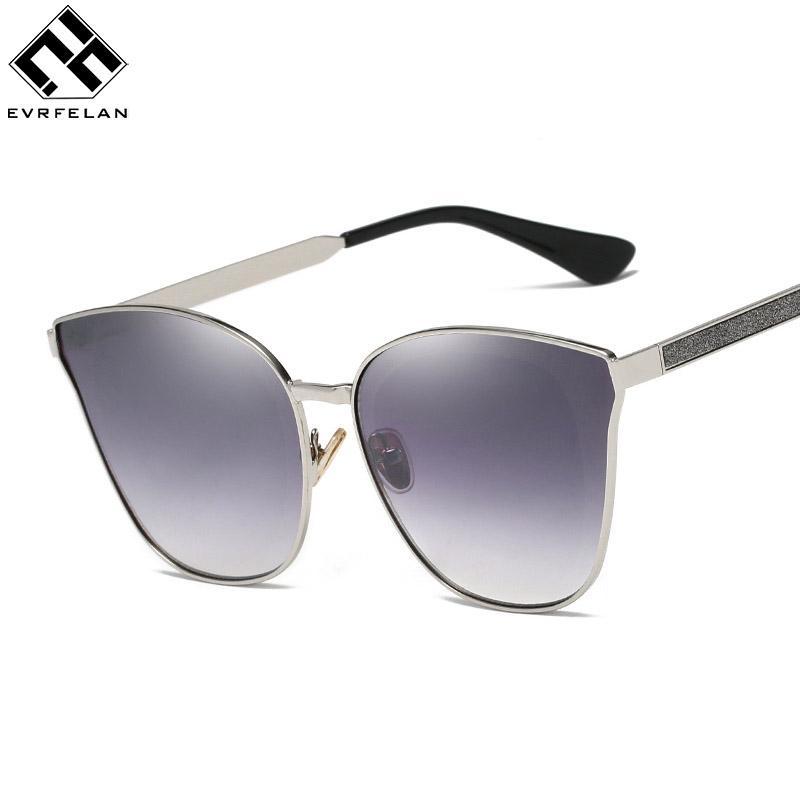 b83ea5435 Compre Nova Moda Olho De Gato De Luxo 2018 Óculos De Sol Das Mulheres  Designer De Marca Espelho Feminino Óculos De Sol Do Vintage Senhoras Oculos  De Sol De ...