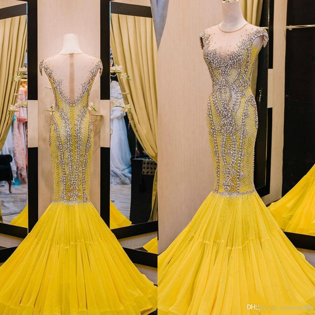 04aaac9011910 2019 Arabic Yellow Luxurious Evening Dresses Beaded Crystals Mermaid Prom  Dress Sheer Neck Formal Party Bridesmaid Pageant Gowns Custom Made