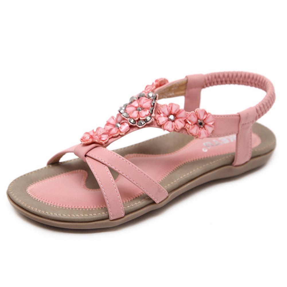 788859625f Compre Mulheres Grânulos De Verão Tanga Flip Flops Casuais Open Toe Clipe  Toe Sandálias Flat Shoes Chinelo Boemia Flor De Faaa