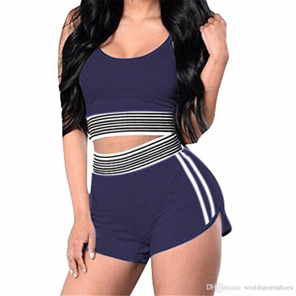 fce8fd69cd03c 2019 Women Sport Sets Sportswear Yoga Top Sports Bra Vest + Shorts Set  Elastic Short Seamless Running Fitness Gym Push Up Bras  249380 From  Worldsportsshoes ...