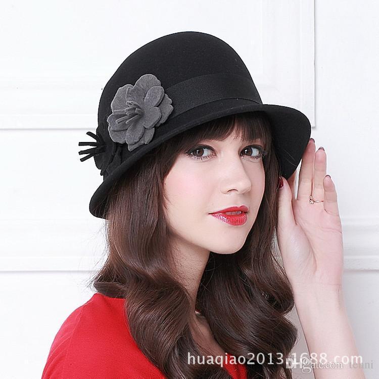 fbd0476d212b4 100% Wool Women Fashion Fedoras Lady Elegant British Style Double ...