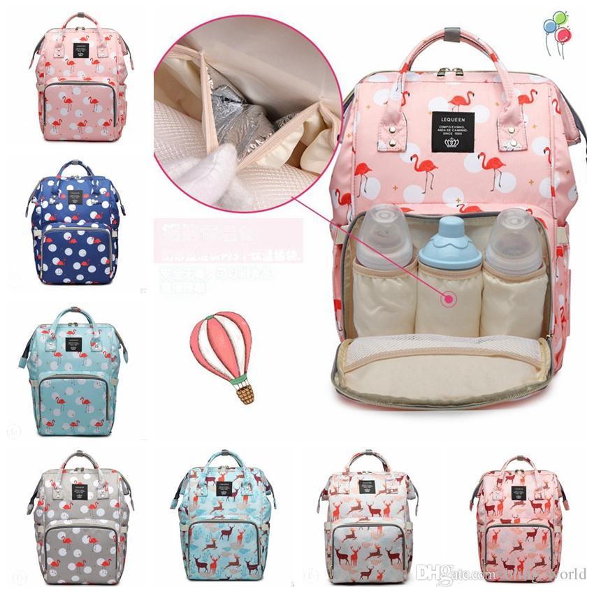 Brand Diaper Backpack Flamingo Printed Mummy