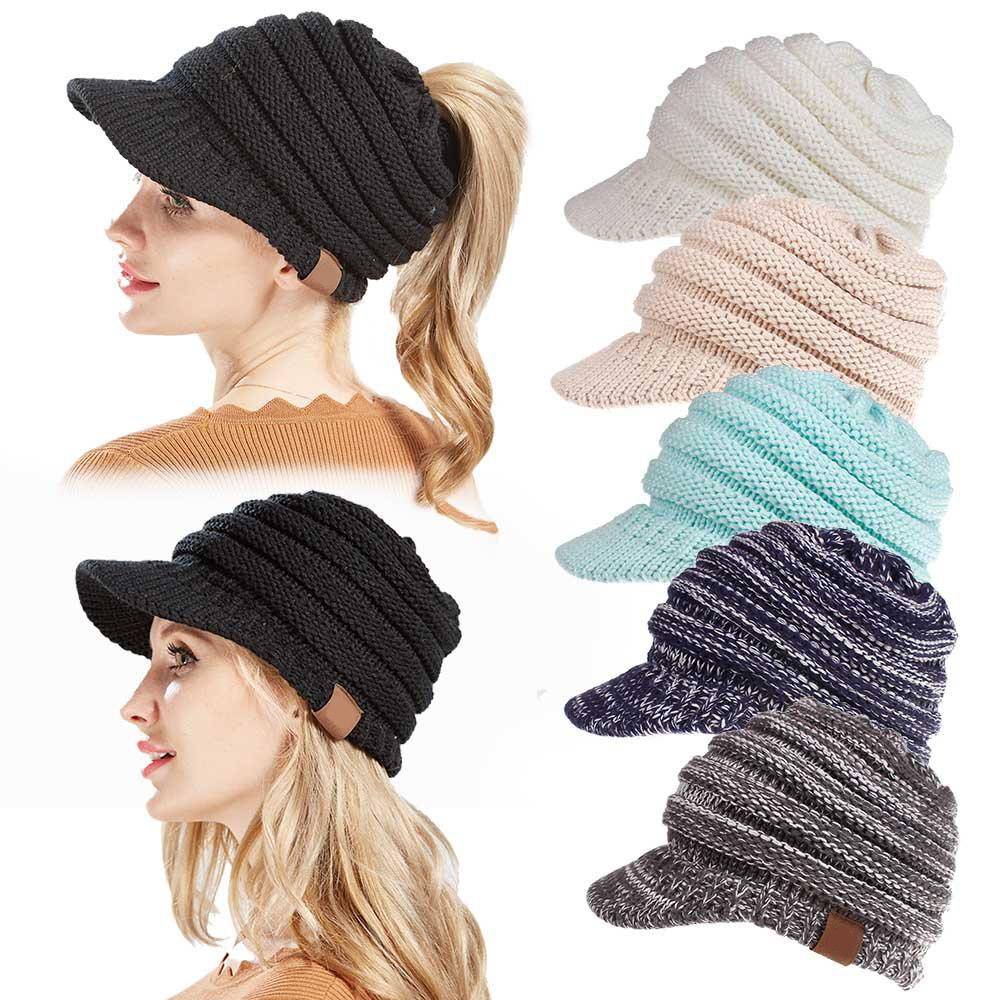 2018 Soft Knit Ponytail Beanie Women Warm Winter Hats For Stretch Cable  Messy Bun Hats Ski Cap Baseball Cap Peaked With Tag Crochet Hats Headwear  From ... feb9e4c91