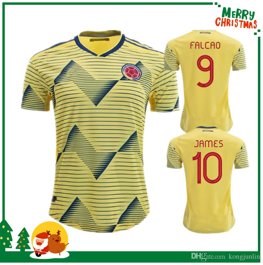 49ecd2b8a5b50 19 20 Colombia JAMES FALCAO VALDERRAMA Camiseta De Fútbol Jersey De Fútbol  De Colombia Club Local Visitante Fútbol De Manga Corta 2019 Por Kongjunlin