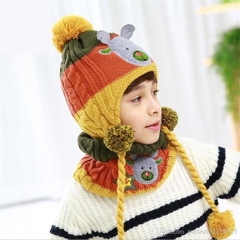 b70c80e01 new style christmas Beanie Hats for child and kids Winter Hat Winter Warm  Knitted Hat With Scarf Set Fleece Prefect Christmas Gift