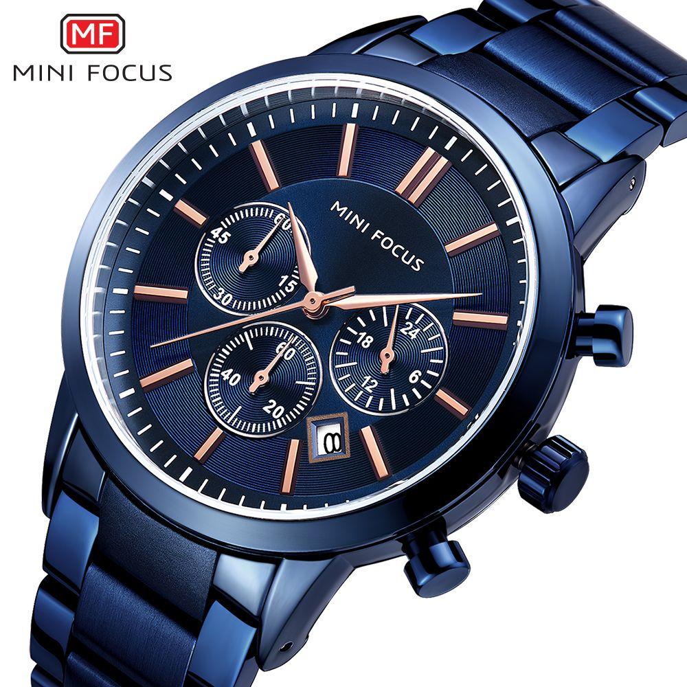 cd6b3a28fbd9 Compre MINI FOCUS Reloj De Moda Hombre Reloj De Cuarzo Azul Correa De Acero  Inoxidable Cronógrafo 3 Diales Top Brand Relojes De Pulsera De Lujo A   42.69 Del ...