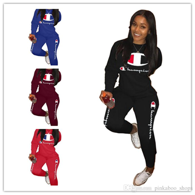 Fashion Brand Champions Letter Printing Tracksuit Women Spring Outfits Long Sleeve T shirt Tops + Pants Leggings 2Piece Set Sport Suit A3207