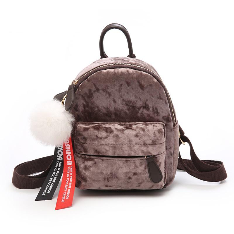 92fb59e0cb Good Quality Fashion Velour Design Mini Backpack Female Shine Small Backpack  School Backpack For Teenage Girls Pink Backpacks Daypack From Keeping01
